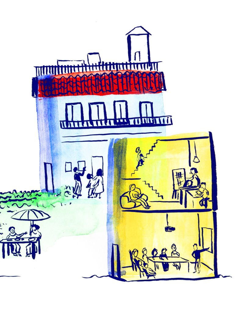 Illustration of an utopian house situation by Beatriz Bagulho