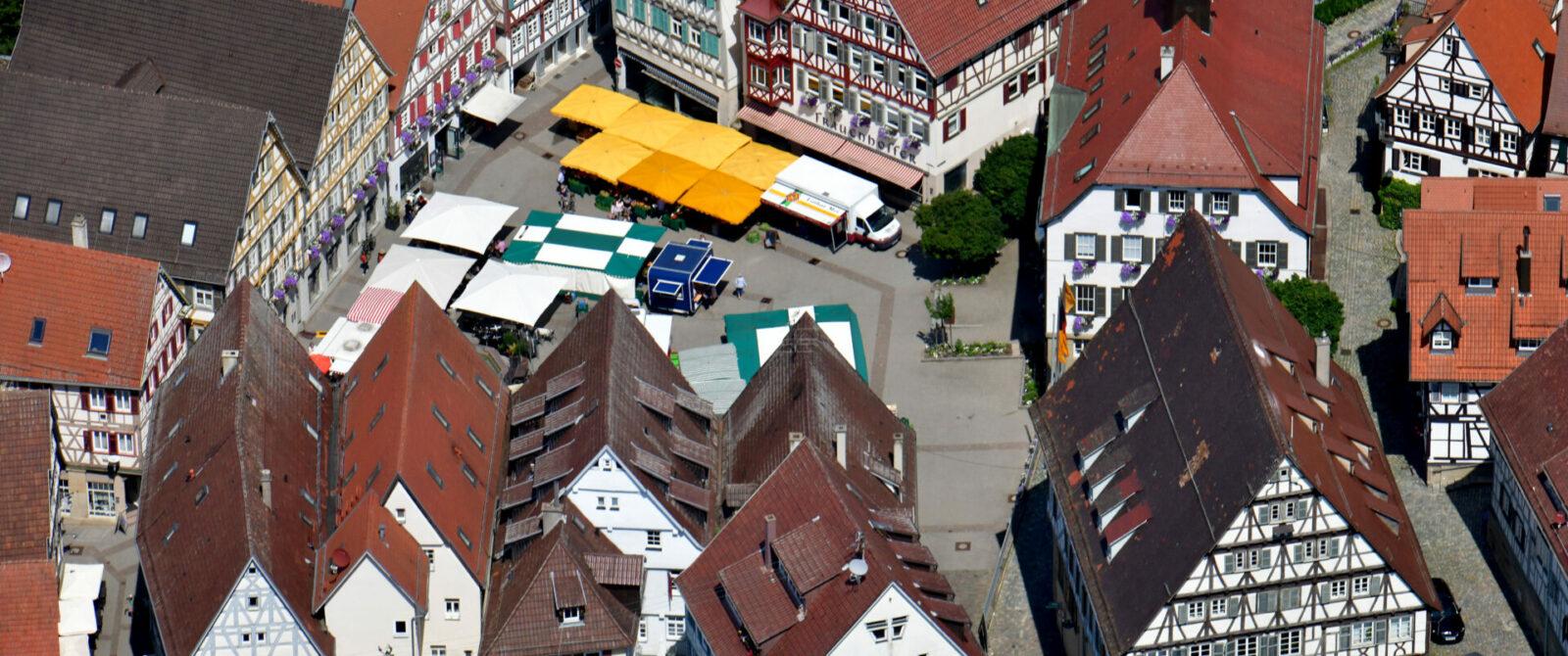 Luftbild Herrenberg Altstadt Marktplatz / Foto: Holom